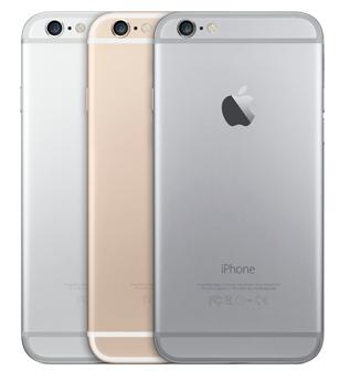 iPhone 6 in zilver, goud en grijs
