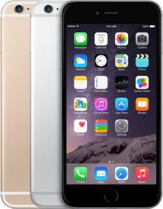 de voorkant van een grijze iPhone 6 Plus en de achterkant van een zilveren en gouden 6 Plus