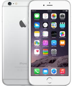 de voor- en achterkant van een zilveren iPhone 6 Plus
