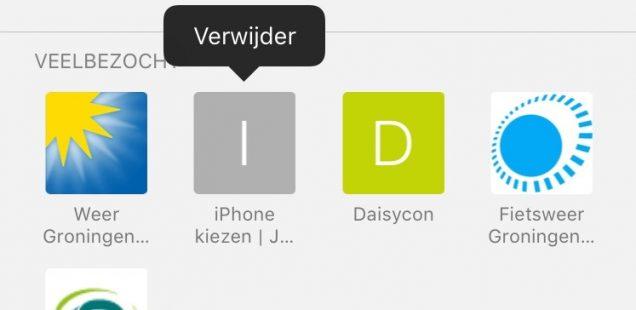 verwijderen veelbezochte internetpagina Safari iPhone