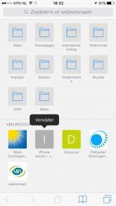 verwijderen veelbezochte pagina iPhone